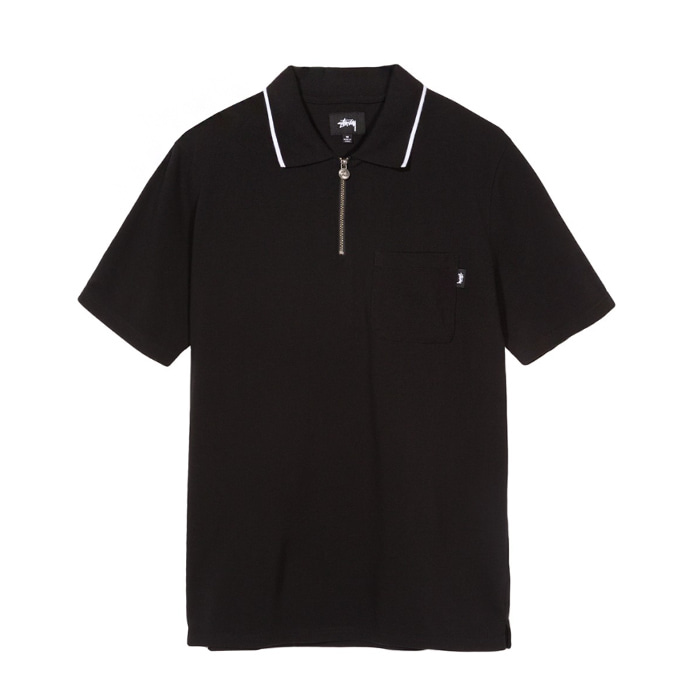 스투시 LION ZIP POCKET POLO/BLACK_1140092