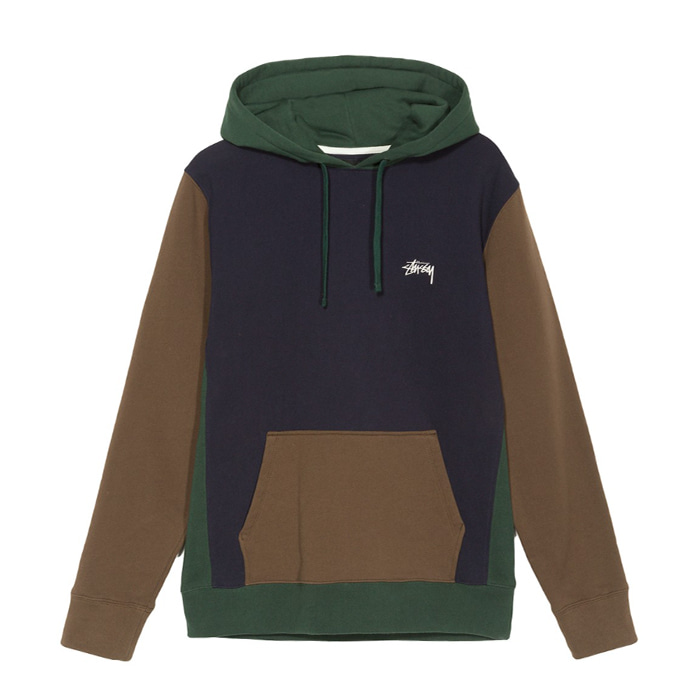 스투시 후드티 COLOR BLOCKED HOOD/NAVY