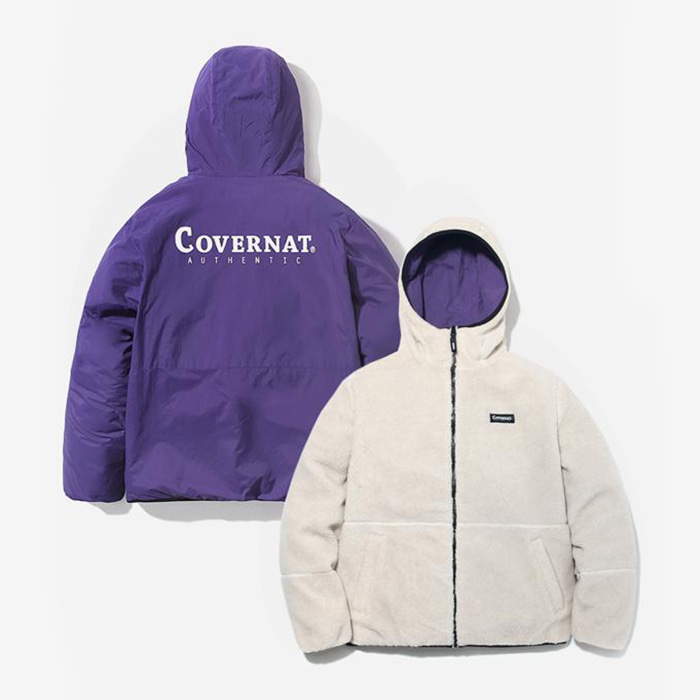 커버낫 REVERSIBLE FLEECE WARM UP JACKET IV/PU