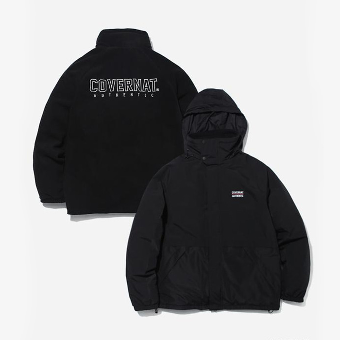 커버낫 REVERSIBLE FLEECE YACHT PARKA BLACK