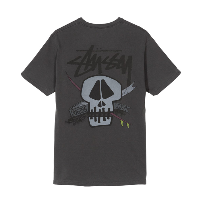 스투시 티셔츠 SURF SKULL PIG. DYED TEE/BLACK
