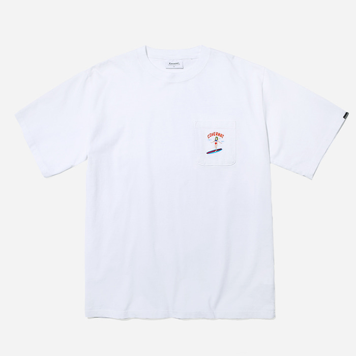 커버낫 티셔츠 S/S 1PK EMBROIDERY SURFER GIRL TEE WHITE