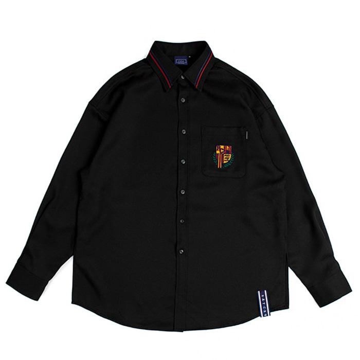 로맨틱크라운 셔츠 RMTCRW Collar Piping Shirt_Black