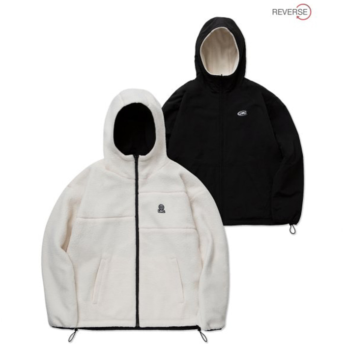 엘엠씨 자켓 LMC BOA FLEECE REVERSIBLE HOODED JACKET cream/black