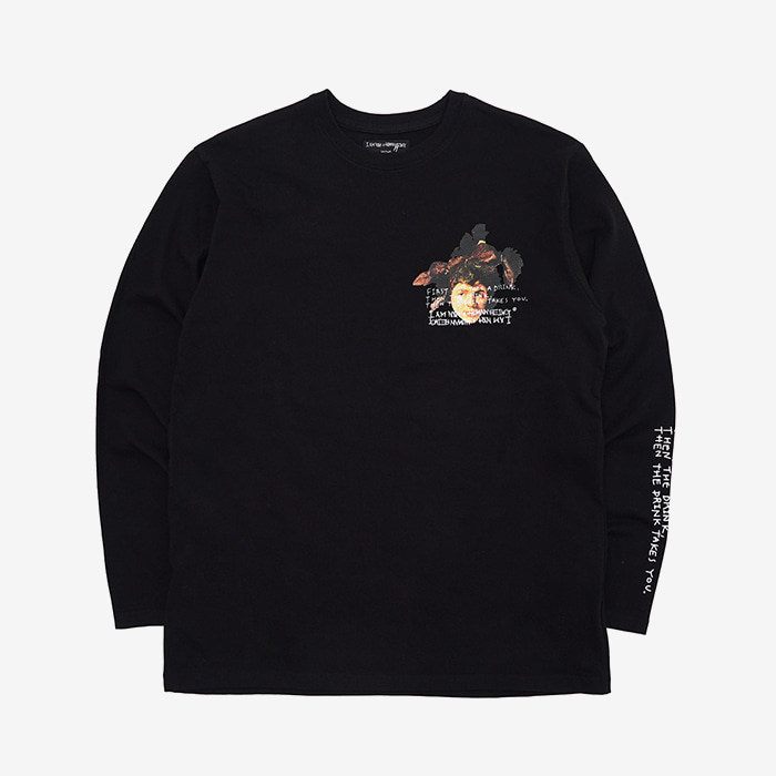 아임낫어휴먼비잉 THE DRINK TAKES YOU L/S T-SHIRT // BLACK