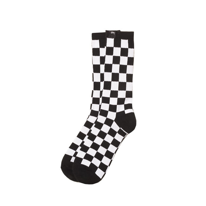 스투시 CHECKER SOCKS/BLACK