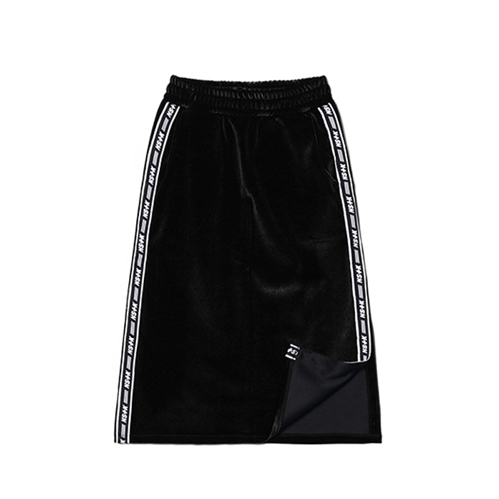 네스티팬시 LINE VELVET MIDDY SKIRT/BLACK