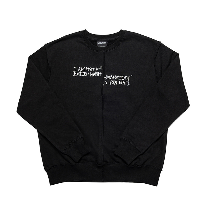 아임낫어휴먼비잉 맨투맨 UNBALANCED CREWNECK SWEATSHIRTS/BLACK