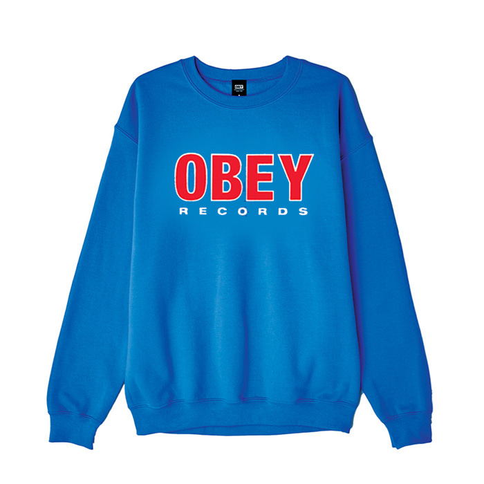 오베이 OBEY RECORDS 2 CREW NECK/ROYAL BLUE