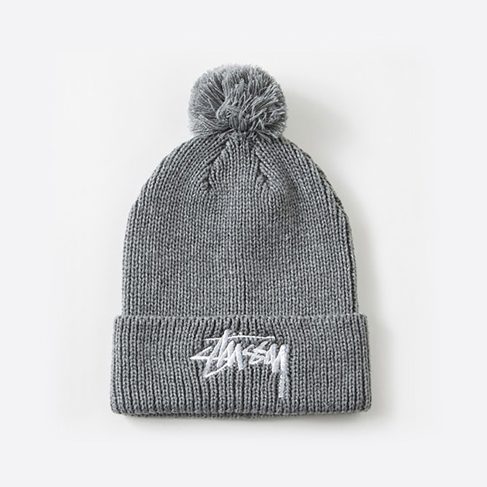 스투시 비니 STOCK FA15 POM BEANIE // GREY HEATHER