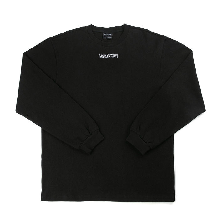 아임낫어휴먼비잉 롱슬리브 Inspired Point Long Sleeve Crew-Neck Tee - BLACK