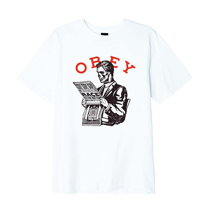 오베이 티셔츠 OBEY RACE TO THE BOTTOM BASIC TEES/WHITE