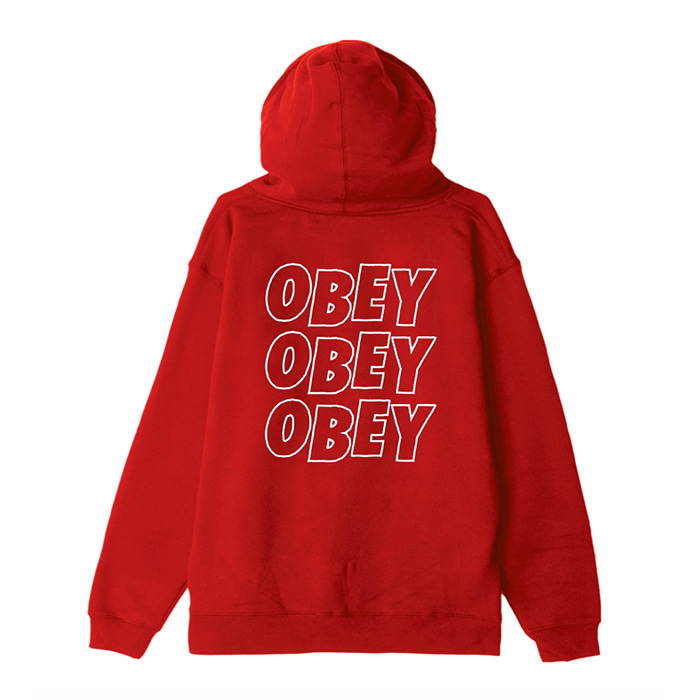오베이 후드집업 OBEY JUMBLE LO - FI ZIP HOOD / RED