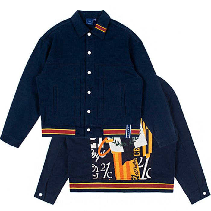 로맨틱크라운 자켓 JACQUARD TRUCKER JACKET/navy