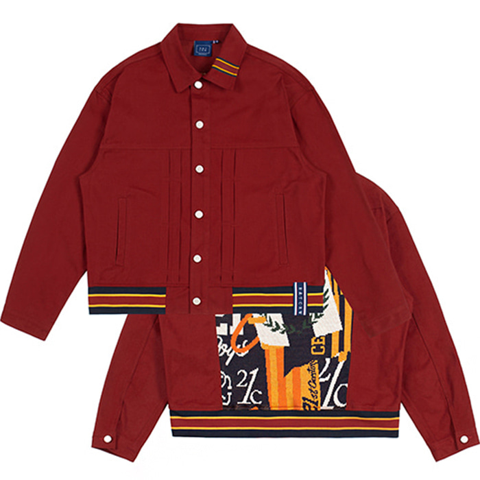 로맨틱크라운 JACQUARD TRUCKER JACKET/burgundy