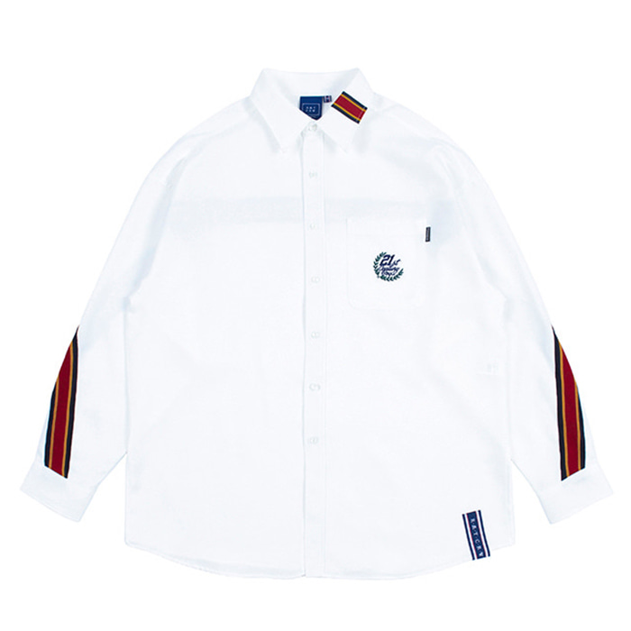 로맨틱크라운 셔츠 BACK LINE OVER FIT SHIRT white