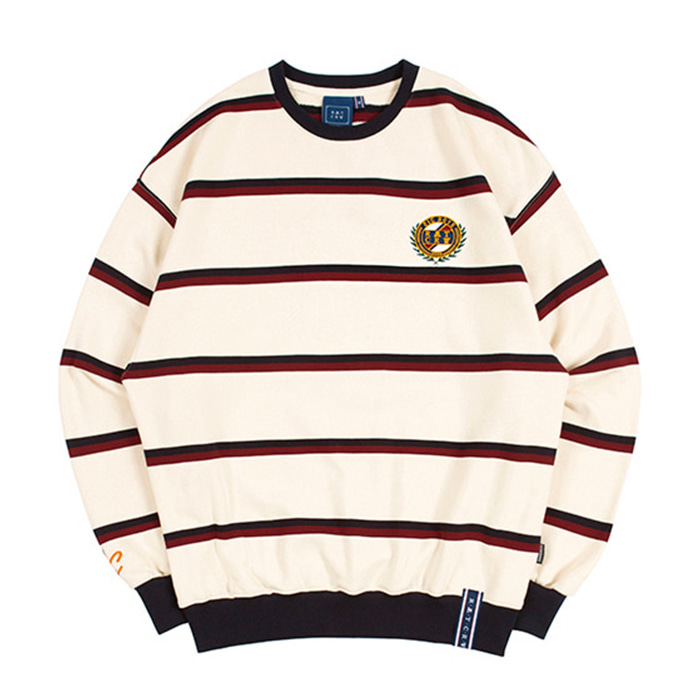 로맨틱크라운 21C BOYS STRIPED SWEATSHIRT/oatmeal