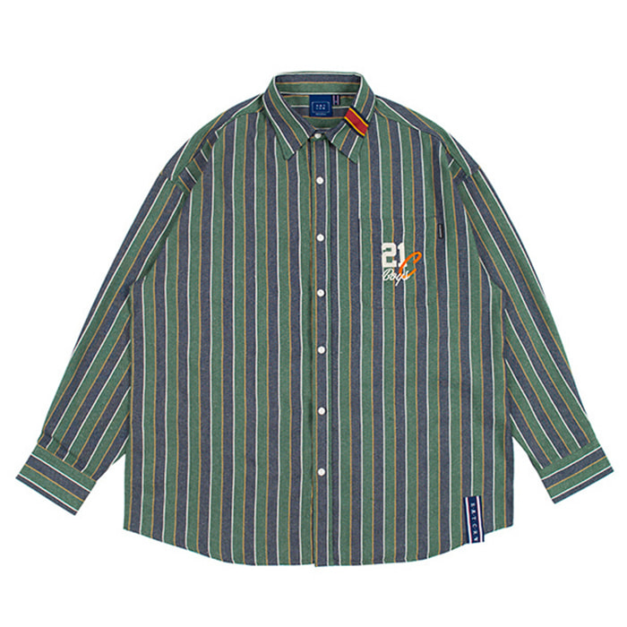 로맨틱크라운 90'S STRIPED SHIRT/green