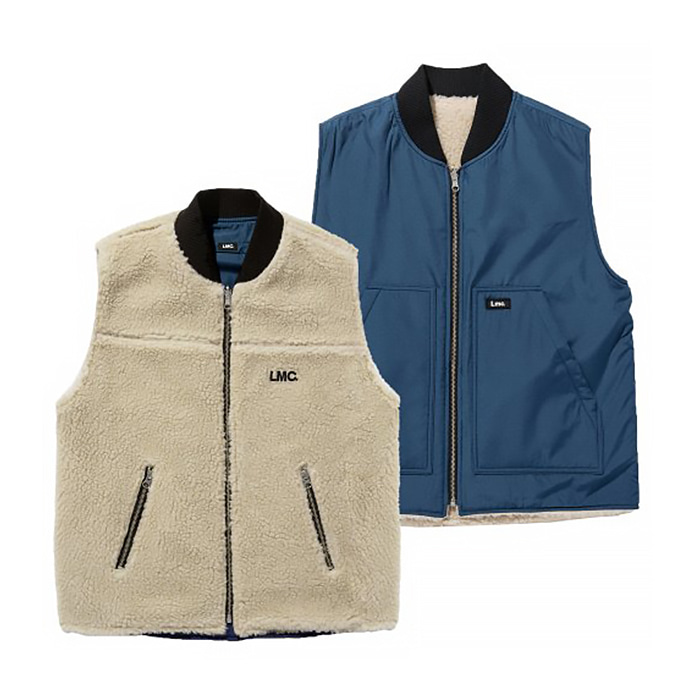엘엠씨 LMC REVERSIBLE BOA VEST be/nv