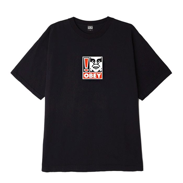 오베이 티셔츠 OBEY EXCLAMATION POINT BOX TEE/OFF BLACK
