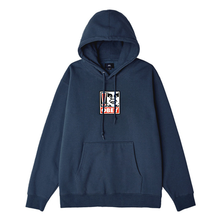 오베이 후드티 OBEY EXCLAMATION POINT HOOD/SLATE BLUE