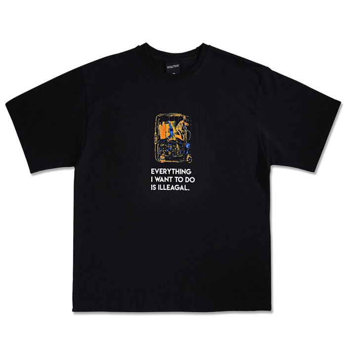 아임낫어휴먼비잉 티셔츠 Everything Baggage Short Sleeve T-Shirt -  BLACK