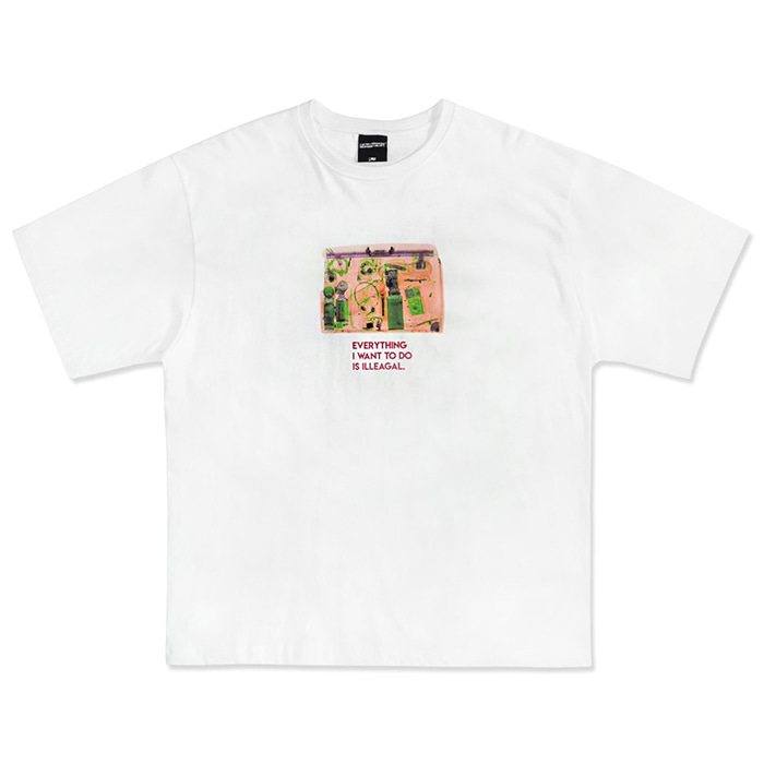 아임낫어휴먼비잉 티셔츠 Stacked Baggage Short Sleeve T-Shirt - WHITE