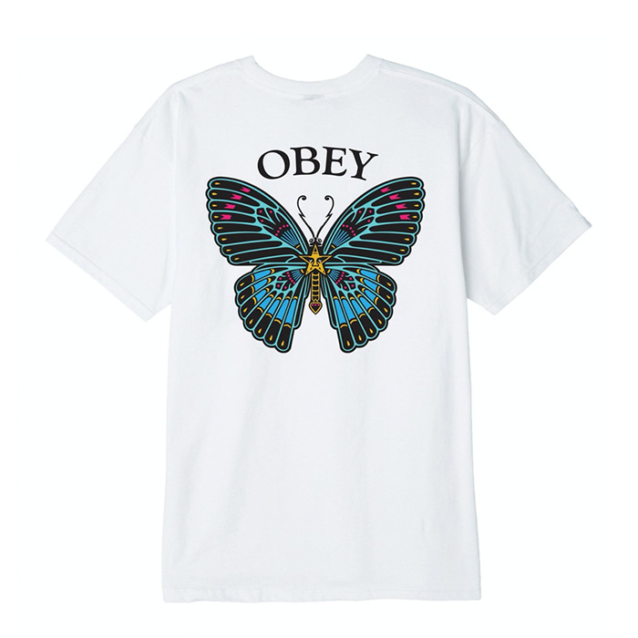 오베이 티셔츠 OBEY BUTTERFLY white