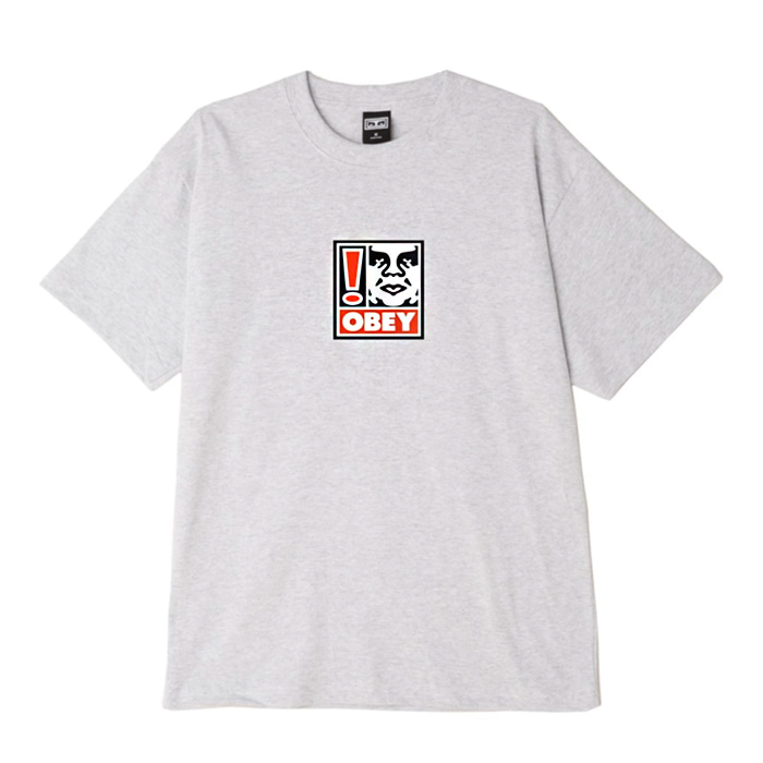 오베이 티셔츠 OBEY EXCLAMATION POINT BOX TEE/HERTHER GREY