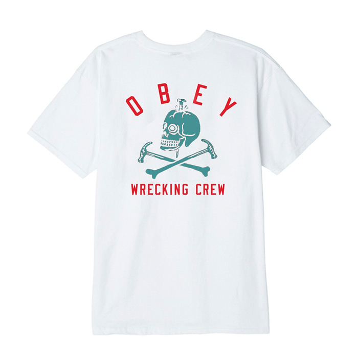 오베이 티셔츠 OBEY WREAKING CREW white
