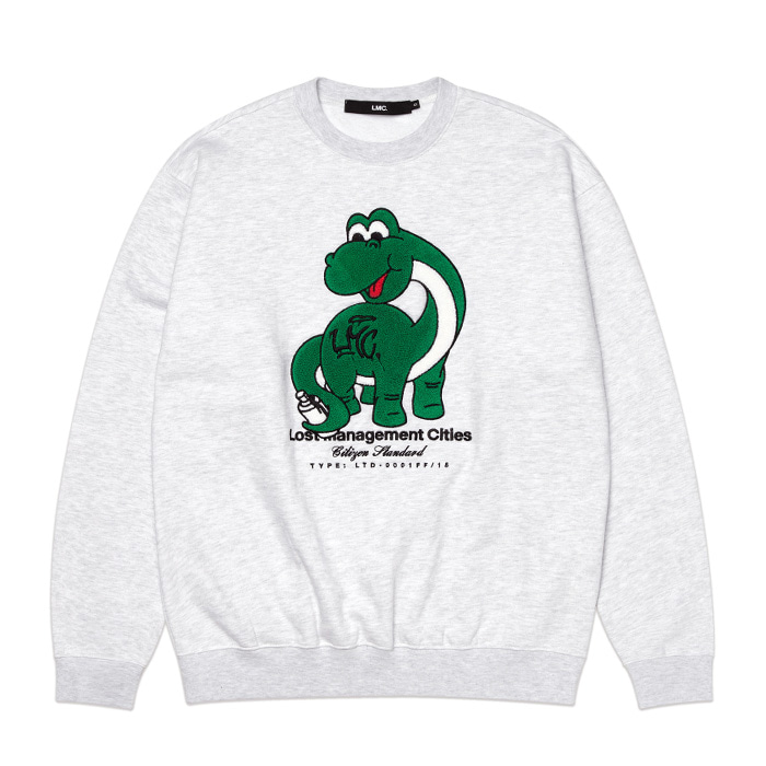 엘엠씨 맨투맨 LMC DINO BOUCLE SWEATSHIRT lt. heather gray