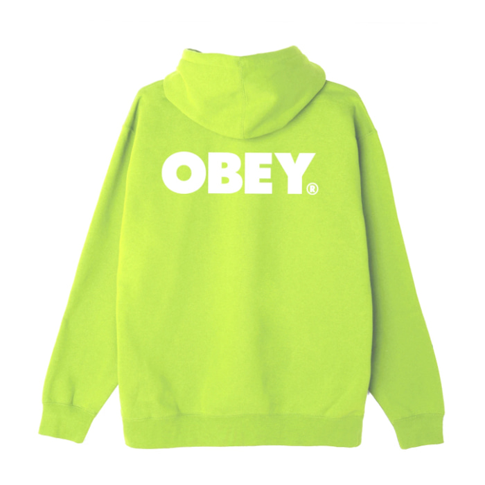 오베이 후드티 BOLD BOX FIT PULLOVER HOOD / LIME PUNCH