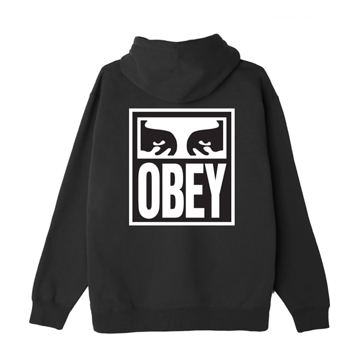 오베이 후드티 EYES ICON II BOX FIT PULLOVER HOOD / BLACK