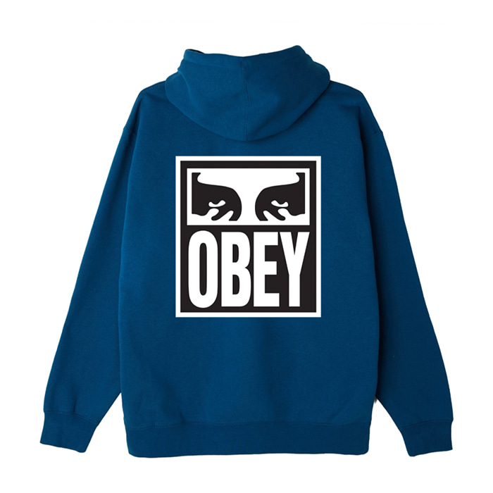 오베이 후드티 EYES ICON II BOX FIT PULLOVER HOOD / BLUE SAPPHIRE
