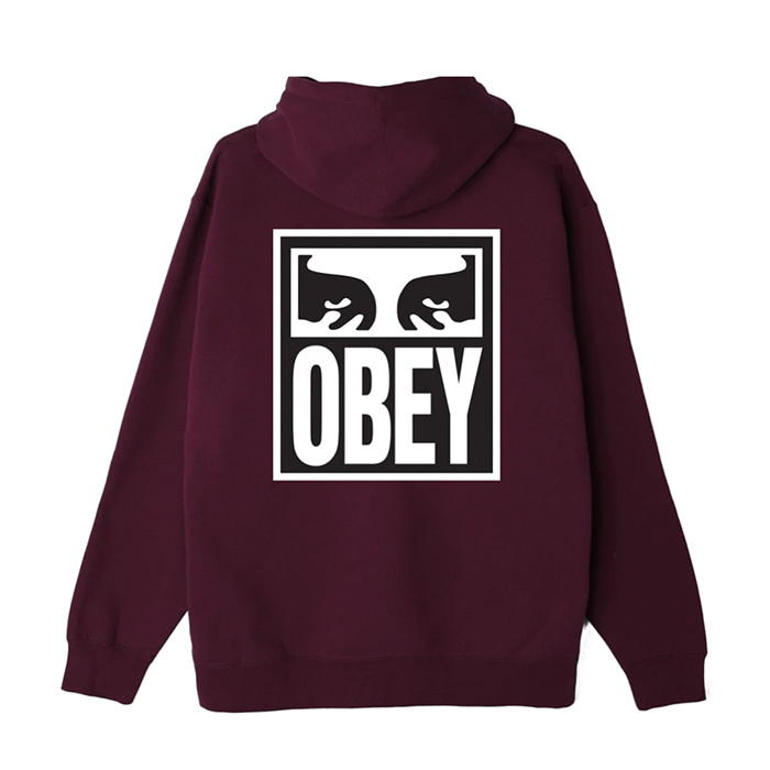 오베이 후드티 EYES ICON II BOX FIT PULLOVER HOOD / BLACKBERRY WINE