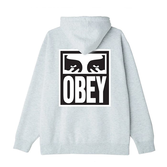 오베이 후드티 EYES ICON II BOX FIT PULLOVER HOOD / HEATHER ASH