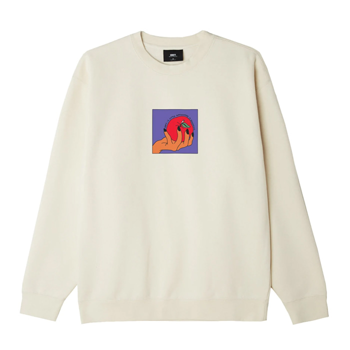 오베이 맨투맨 APPLE A DAY PREMIUM CREWNECK / NATURAL